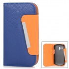 Protective PU Leather Case Stand w/ Card Slots for Samsung Galaxy S3 Mini i8910 - Blue + Deep Orange
