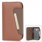 Protective PU Leather Case w/ Card Slots for Samsung Galaxy S3 Mini i8910 - Brown