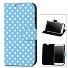 Polka Dot Pattern Protective PU Leather Case Stand w/ Card Slots for Samsung Galaxy S4 i9500 - Blue