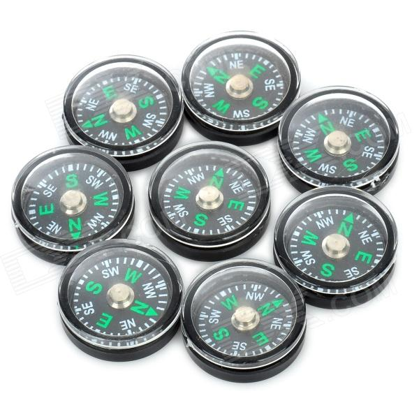 Mini Outdoor Camping Hiking Compass - Black (8 PCS)
