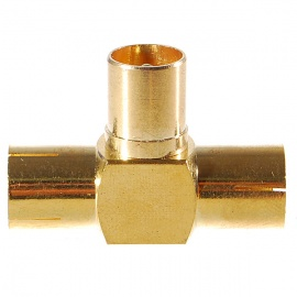 Gold Plated TV Aerial Socket 1-Male 2-Female T-Connector