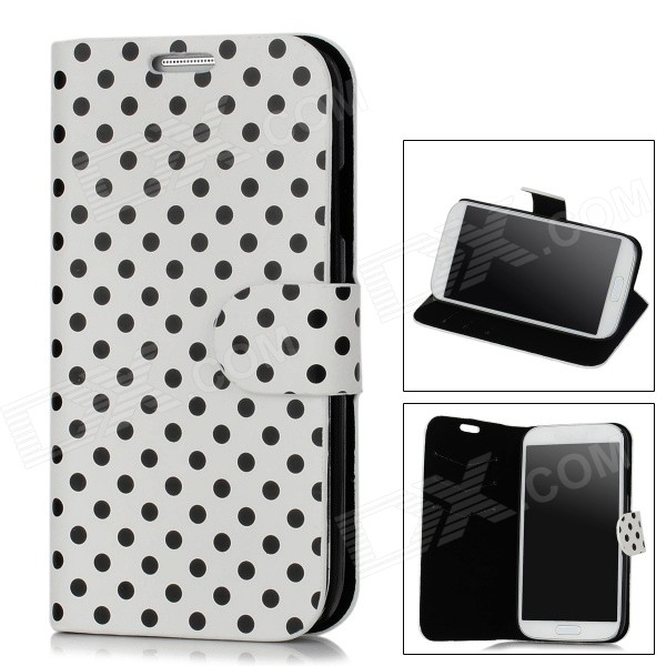 Polka Dot Pattern Protective PU Leather Case for Samsung Galaxy S4 i9500 - White + Black qi wireless charger receiver pu leather case k8 charging pad kit for samsung galaxy s4 white