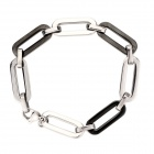Cool Oval Copper Aluminum Alloy Bracelet for Men - Silver + Black