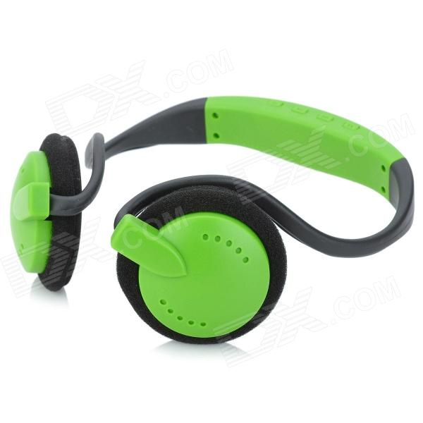 Stylish Neckband Headphones MP3 Player Headset w/ FM / TF Card Slot - Green + Black 5 in 1 wireless cordless rf headphones headset with microphone for pc tv dvd cd mp3 mp4 hifi headset fm radio monitor black