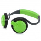 Stylish Neckband Headphones MP3 Player Headset w/ FM / TF Card Slot - Green + Black
