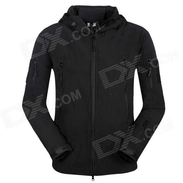 Men's Waterproof Windproof Polyester + Spandex Outdoor Jacket - Black (Size-XL) outdoor genuine lady pink ski suit camouflage waterproof windproof jacket cotton 1410 018 women wear
