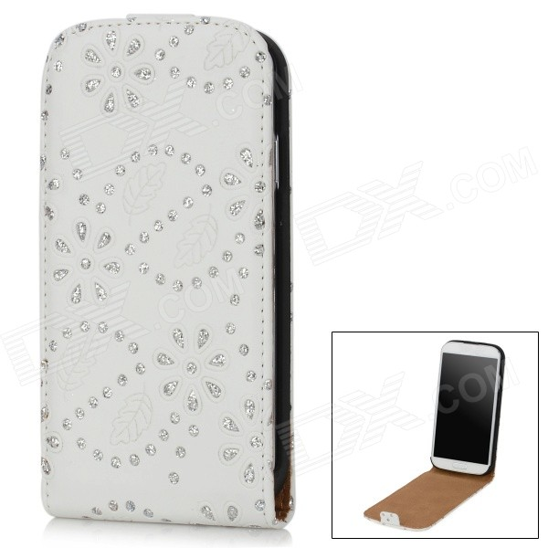 Diamond Pattern Protective PU Leather Case Cover for Samsung Galaxy S4 i9500 - White + Silver