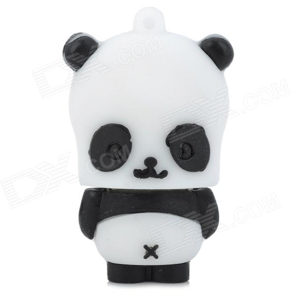 Cartoon Square Face Panda Style USB 2.0 Flash Drive - Black + White (4GB) cartoon koala style usb 2 0 flash drive brown white 4 gb