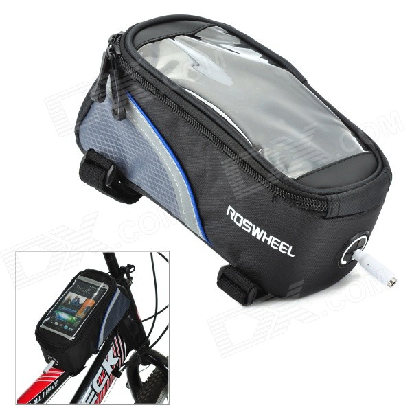 ROSWHEEL 12496M-B5 4.8 Bicycle Bike Bag w/ Earphone Jack for Cell Phone - Black + Blue
