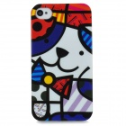 Protective Graffiti Style Back Case for iPhone 4 / 4S - White + Blue + Red