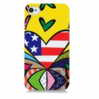 Protective Graffiti Style Back Case for Iphone 4 / 4S - Yellow + Red + Blue