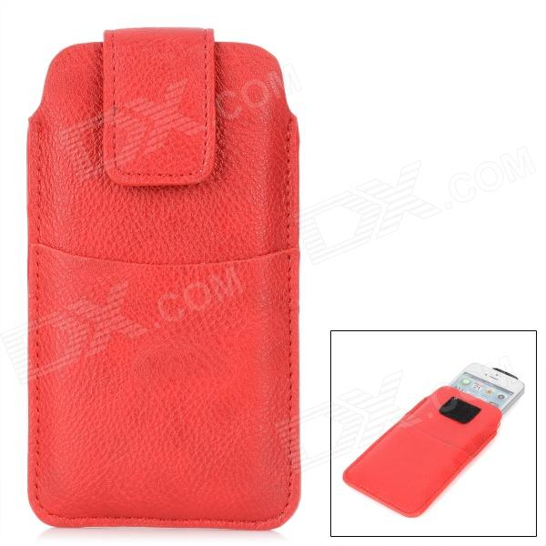 Stylish Inline PU Leather Case w/ Velcro Buckle for Iphone 4 / 4S / 5 - Red circle pattern protective pu leather case w strap for iphone 4 5 4s red