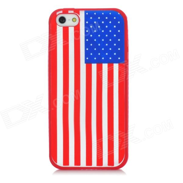 Protective USA Flag Pattern Silicone Back Case for Iphone 5 - Red stylish bubble pattern protective silicone abs back case front frame case for iphone 4 4s