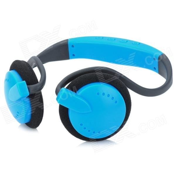 Stylish Neckband Headphones MP3 Player Headset w/ FM / TF Card Slot - Blue + Black ks 508 mp3 player stereo headset headphones w tf card slot fm black