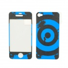 ITOP BD004 Shooting Target Pattern Matte PET Screen Film & Back Skin for Iphone 4S - Black + Blue