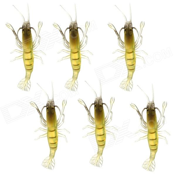 Lifelike Shrimp Style Soft PVC Fishing Baits - Yellow (4 PCS)