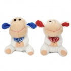 Cute Sheep Style Soft Fleece Car Decorative Dolls Toy w/ Suction Cup - White + Misty Rose (Pair)
