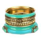 Fashionable Bohemia Style Zinc Alloy + Plastic Bracelets - Green + Golden (5 PCS)