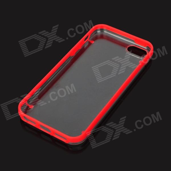 Protective Noctilucent TPU + PC Back Case for Iphone 5 - Red + Transparent protective noctilucent tpu pc back case for iphone 5 red transparent