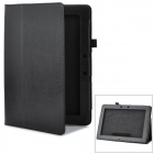 Lichee Pattern Protective PU Leather Case w/ Stand for Asus TF301T - Black