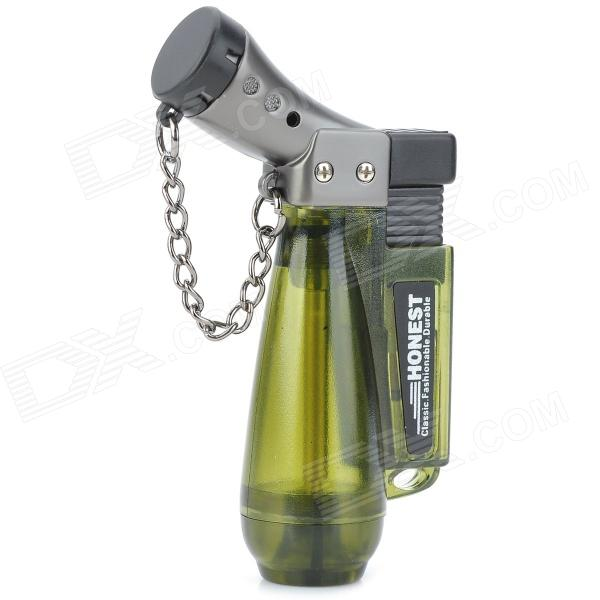 1300 Centigrade Windproof Blue Butane Jet Torch Lighter w / Keychain - Transparent Green