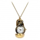 Vintage Ball Wing Style Quartz Pocket Watch w/ Long Chains - Bronze (1 x 377)