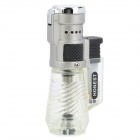 HONEST 363-1 Compact Soldering Windproof Butane Jet Flame Lighter - Silver + Translucent
