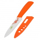 "TJC-03205 5"" Flower Pattern Kitchen Ceramic Knife - Orange + Milk White"