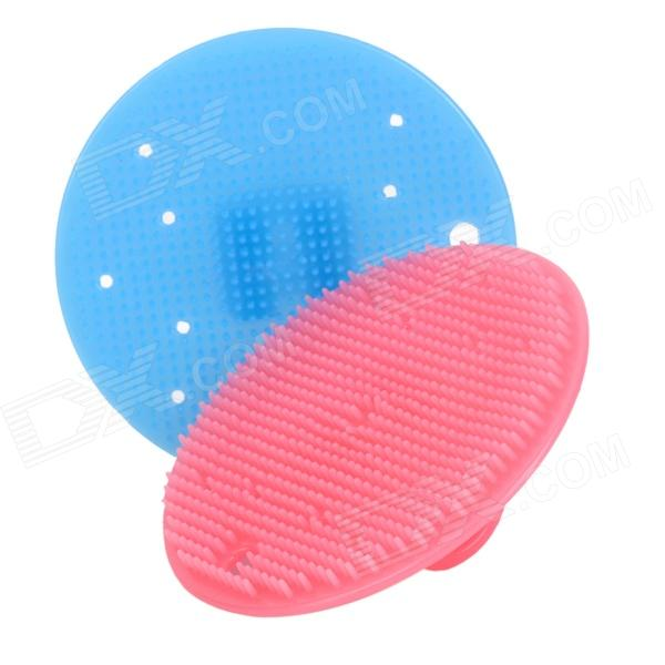 Kitchen Fruit Clean Wash Round Silicone Brush - Blue + Red (2 PCS)