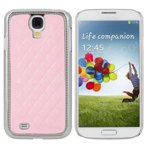 Rhombus Style Protective PU Leather + Plastic Electroplating Case for Samsung Galaxy S4 i9500 - Pink
