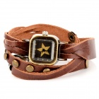 Fashion Bracelet Style Square Shape Dial Artificial Leather Band Wrist Watch - Brown (1 x 377)