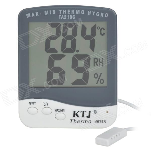 TA218C Digital 3.9 LCD Temperature Humidity Tester Thermometer - White + Grey (1 x AAA) pro s kit nt 311 3 8 lcd digital temperature humidity meter white deep grey 1 x aaa