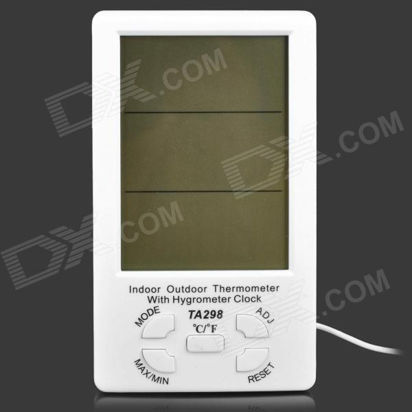 TA298 Indoor Outdoor Digital 4.4 LCD Temperature Humidity Meter w/ Probe - White (1 x AAA) indoor air quality pm2 5 monitor meter temperature rh humidity
