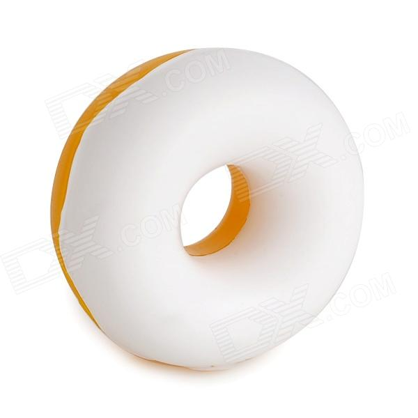 WL300 Doughnut Shape Silicone Earphone Cord Cable Winder Organizer - Yellow + White cc 923 cable cord holder wire winder black white 6 pcs