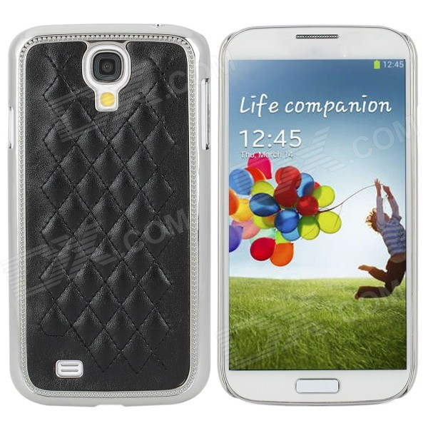 Rhombus Style Protective PU Leather + Plastic Plating Case for Samsung Galaxy S4 i9500 - Black