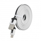 USB to 8-Pin Lightning Data / Charging Flat Cable for iPhone 5 / iPad 4 - Black + White (200CM)