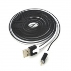 USB to 8-Pin Lightning Data / Charging Flat Cable for iPhone 5 / iPad 4 - Black + White (300CM)
