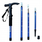 Better 4-Section Retractable Aluminum Alloy Trekking Stick Walking Hiking Pole - Blue + Black