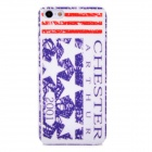 Protective Retro Chester Pattern Back Case for Iphone 5 - White + Pink + Purple