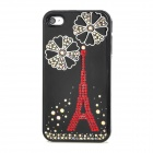 Shiny Eiffel Tower Pattern Protective Plastic Back Case for Iphone 4 / 4S - Black + Red