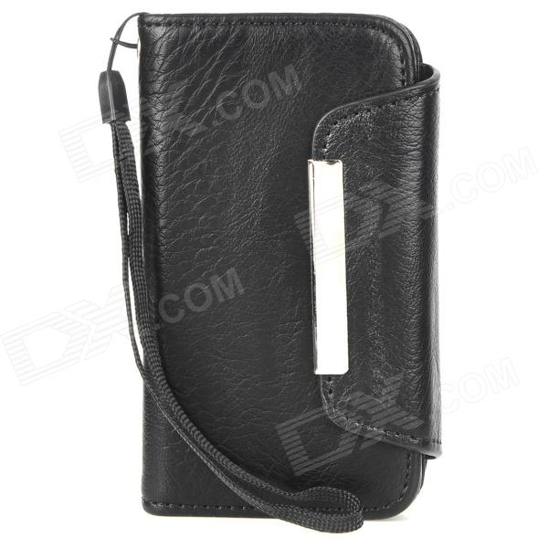 Simple Protective PU Leather Flip-Open Case for Iphone 4S / 4 - Black protective pu leather flip open case for iphone 4 4s black