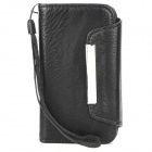Simple Protective PU Leather Flip-Open Case for Iphone 4S / 4 - Black