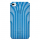 Protective 3D Line Style Plastic Back Case for Iphone 4 / 4S - Translucent Blue