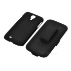 Protective Plastic Back Case w/ Belt Clip for Samsung Galaxy S4 i9500 - Black