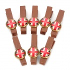 WL202 UK National Flag Pattern Wooden Clip Clamp (8 PCS)