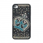 Fashion Shiny Crystal-inlaid Crown Pattern Plastic Back Case for Iphone 4S / 4 - Black