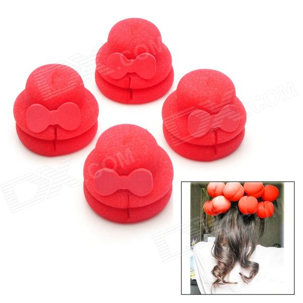 Cute Hat Style Sponge Buckle Hair Curler Balls - Red (4 PCS) dilan cj 208 37 in 1 plastic sponge buckle hair curler tool blue purple pink