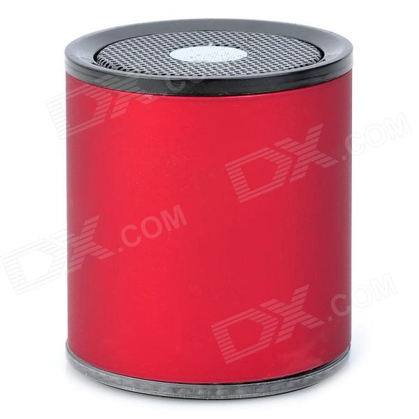 Mini Cylinder Shaped Bluetooth v2.0 Stereo Speaker w/ TF / Microphone - Red + Black s10 mini portable bluetooth v3 0 stereo mp3 speaker w mic tf mini usb red black silver
