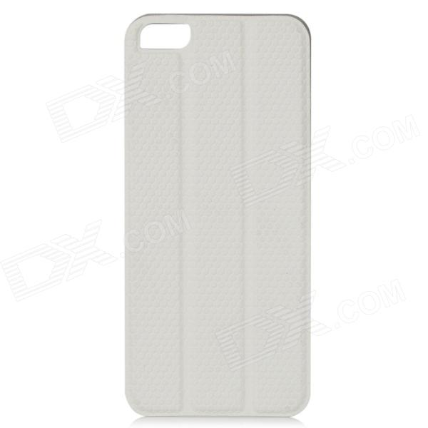 3-in-1 Protective PU Leather Foldable Back Case for Iphone 5 - White