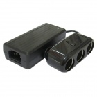 FXA038T AC 100~240V to 3-Port Car Cigarette Lighter DC 12V Power Adapter - Black (3-Flat-Pin Plug)